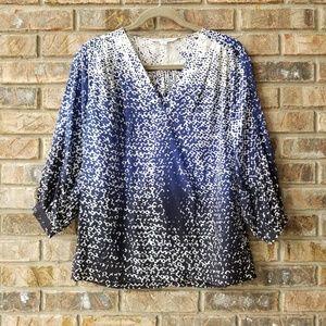 Diane Von Furstenberg DVF Blue Black Silk Shirt